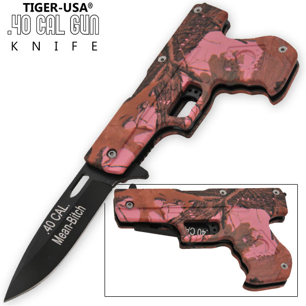 8.75 Inch Trigger Assisted .40 Cal. Pistol Knife - Camo 8 (Mean Bitch) PA0211-BW-CM8