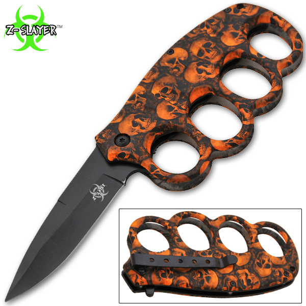 8 Inch Matrix Extreme Trigger Assisted Trench Knife (Orange Skull) K-14-SK-OR