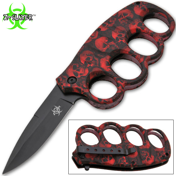 8 Inch Matrix Extreme Trigger Assisted Trench Knife (Red Skulls) K-14-SK-RD