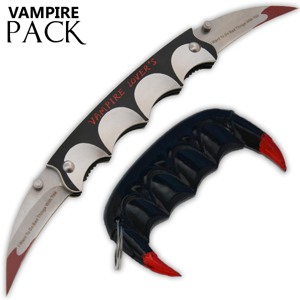 Vampire Slayer Teeth Self Defense Keychain - Vampire Lovers Knife Set 39-BK-VL-BK