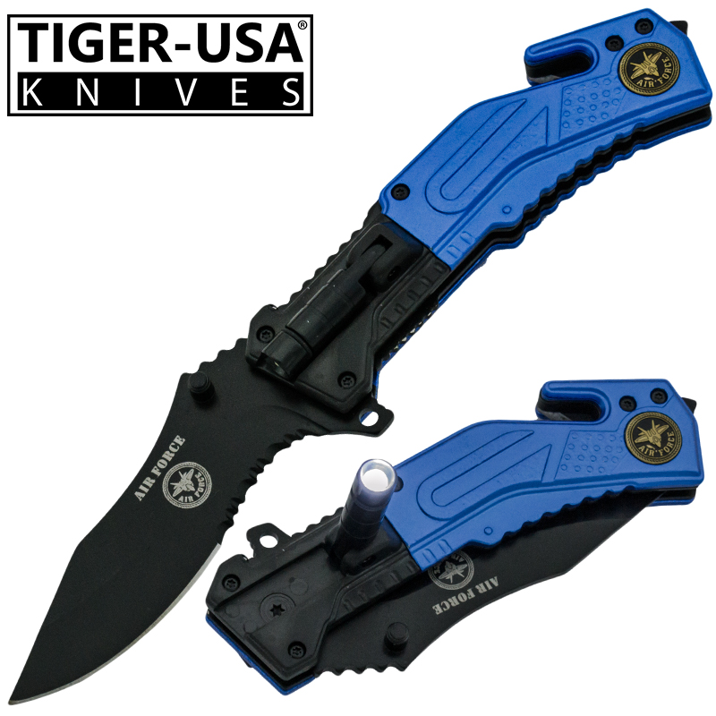 Spring Assisted LED Flash Light Tactical Knife, Blue-AF