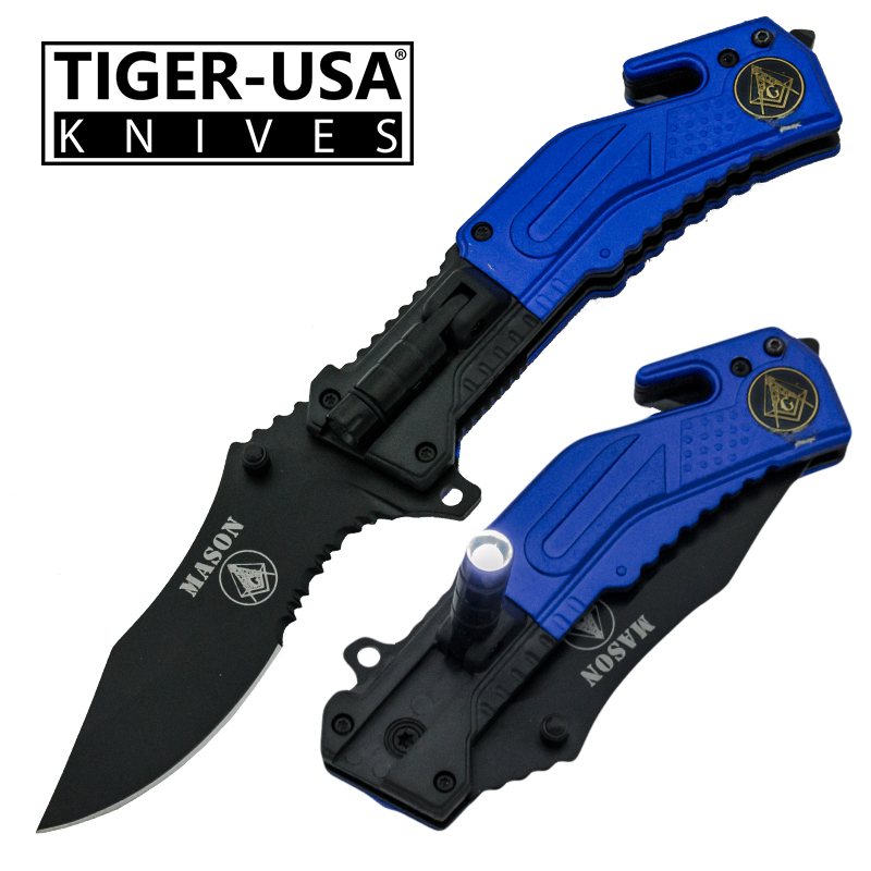 Spring Assisted LED Flash Light Tactical Knife, Blue