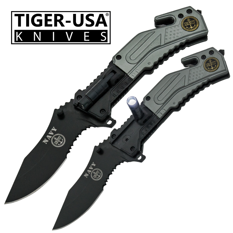 Spring Assisted LED Flash Light Tactical Knife, Gray