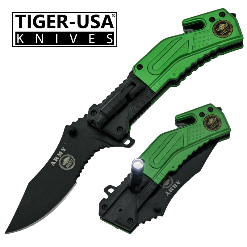 Spring Assisted LED Flash Light Tactical Knife, Green-AR