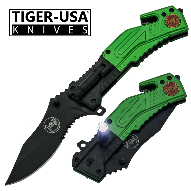 Spring Assisted LED Flash Light Tactical Knife, Green