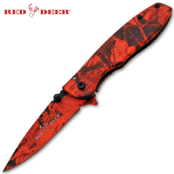 Spring Assisted Red Deer Knife, Red Camo