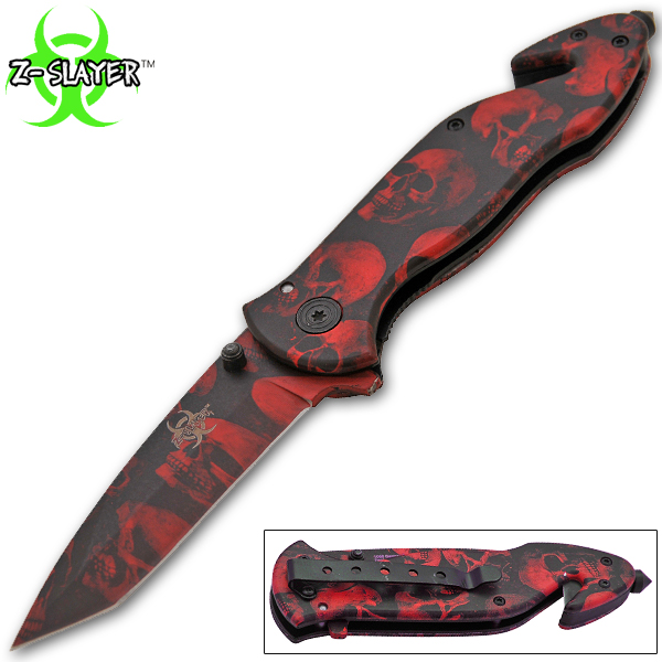 Spring Assisted Undead Slayer Knife, Red