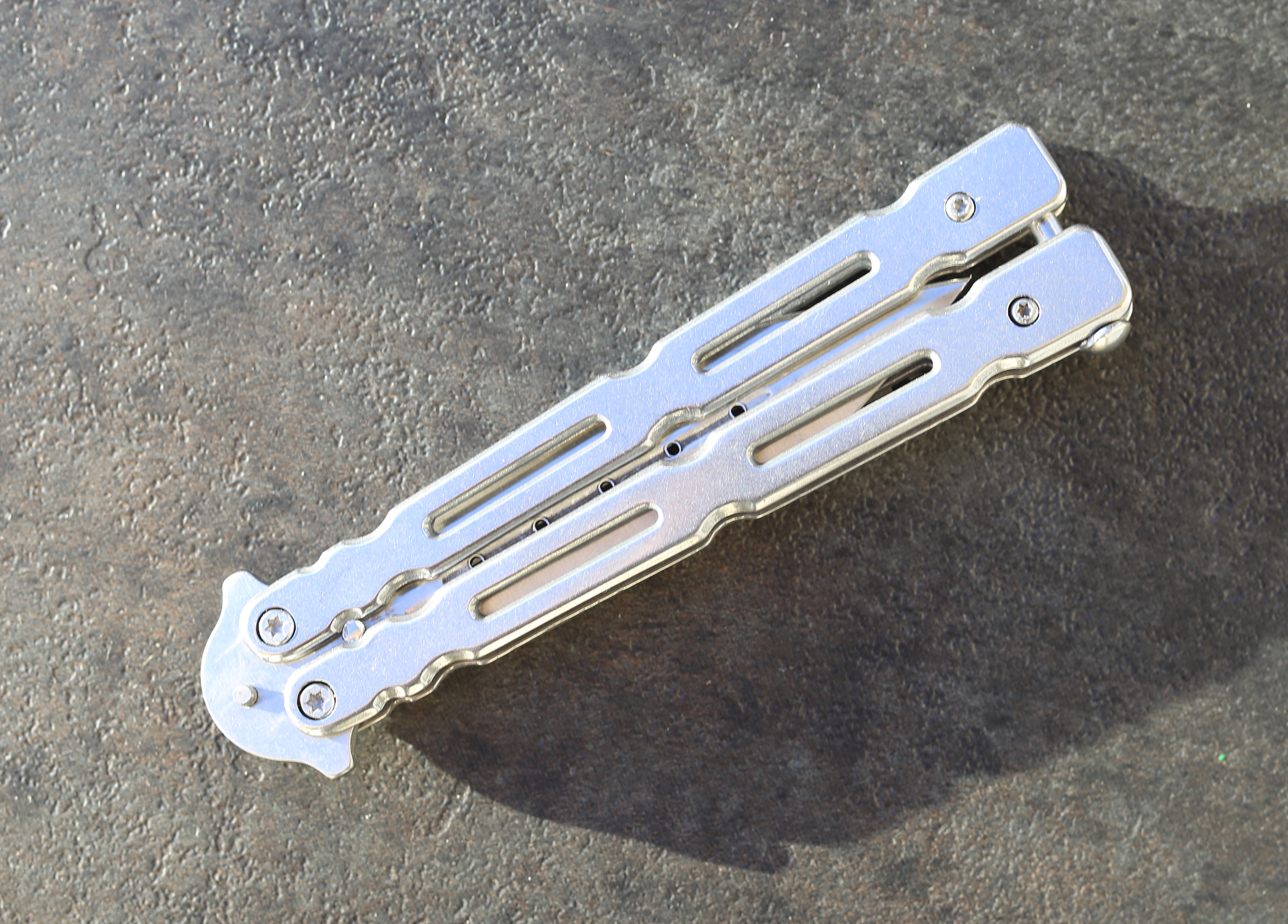 Tactical Spear Point Butterfly Knife, Silver