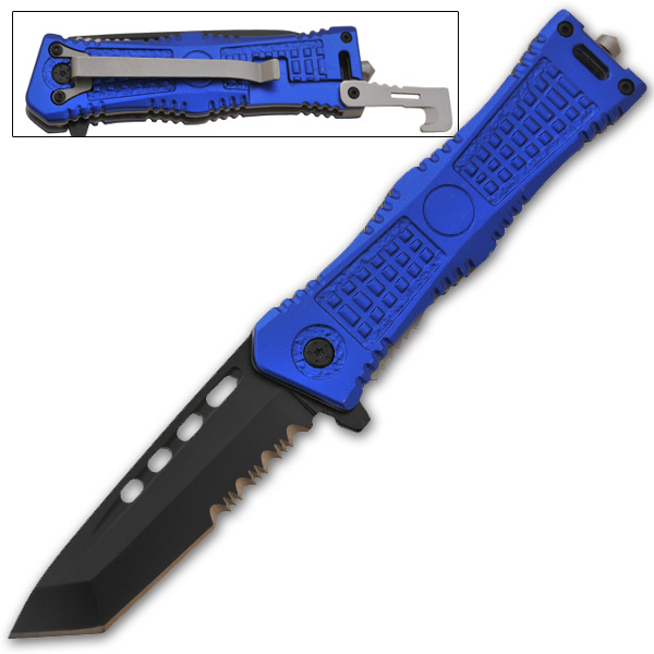 Tanto Blade Spring Assisted Knife, Blue