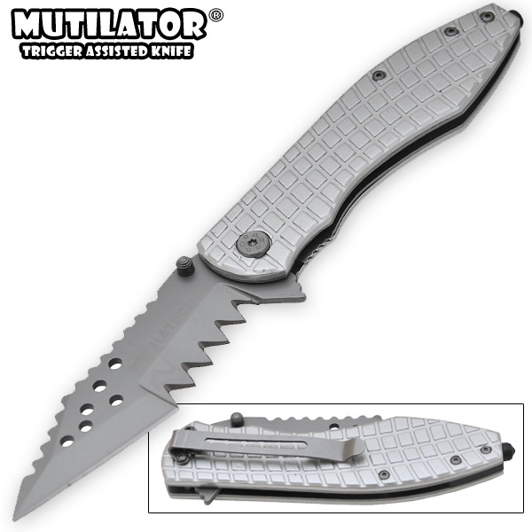 The Mutilator II - Spring Assisted Knife, Silver