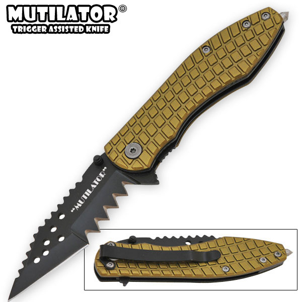 The Mutilator - Spring Assisted Knife, Green w/ Black Blade