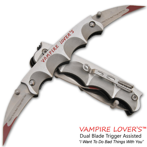 Vampire Lover's Spring Assisted Dual Knife, Silver