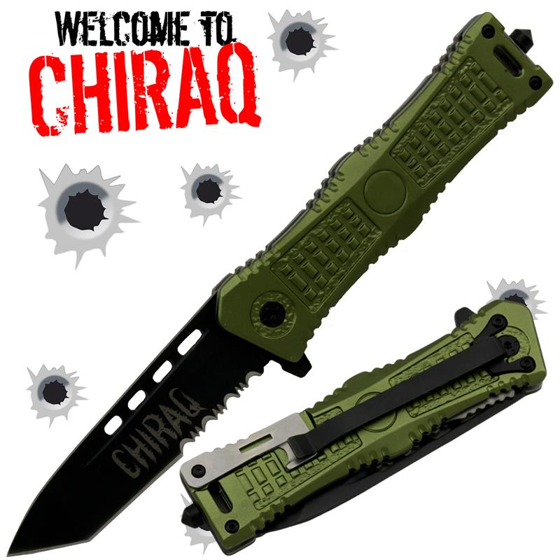 Welcome to Chiraq Tanto Blade Trigger Action Knife, Green