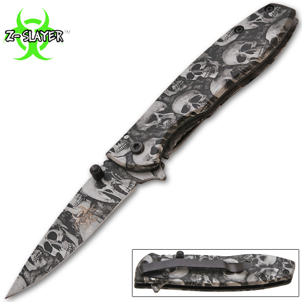 Z-Slayer Spring Assisted Knife, Silver Skulls