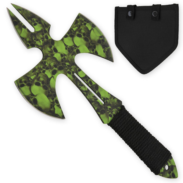 Green Skull Medieval Style Throwing Axe - Comes With Wearable Sheath Z-1031-GR-SK-S