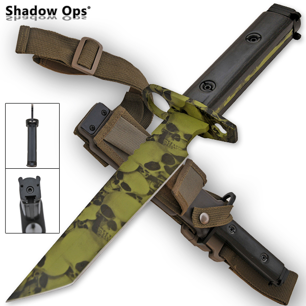 Heavy Duty Shadow Ops Bayonet Undead Skull Knife - Drop Point YF-02-GR