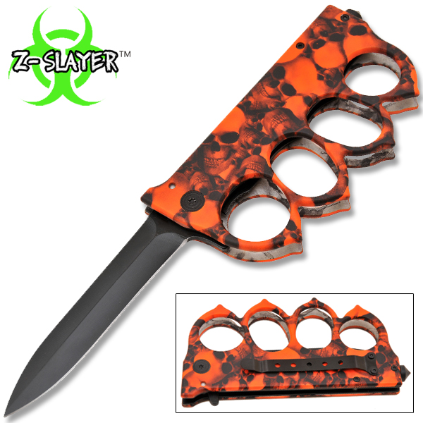 Z-Slayer Skull Undead Knuckle Trench Knife - Red B-162-SK-RD