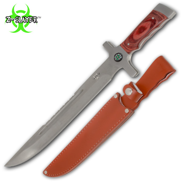 Z-Slayer Survival Knife W Real Leather Sheath & Compass YF-8368